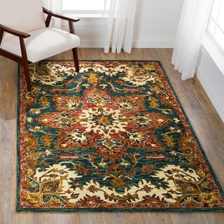"""Hand-hooked Dark Rust/ Navy Traditional Floral Wool Area Rug - 9'3"""" x 13'"""
