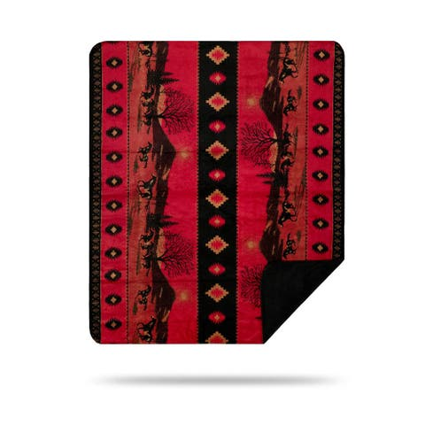 "Denali Red Running Horses 60""x72"" Microplush Blanket"