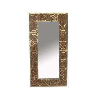 Sagebrook Home 12954 Wood/Metal Wall Mirror, Brown, Window Box Wood, 19 x 1 x 37 Inches - Brown
