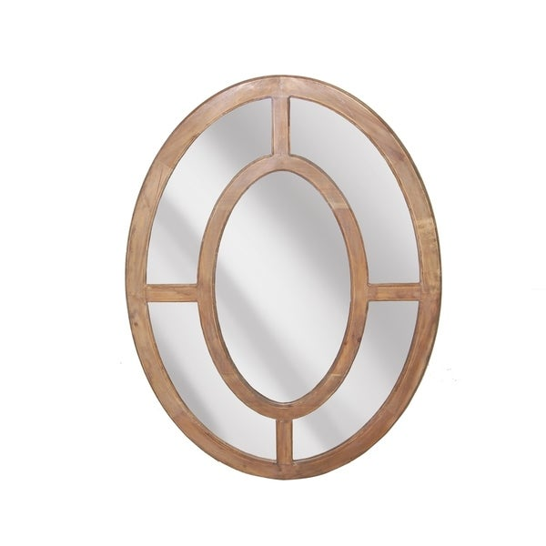 Sagebrook Home 13576 Decorative Oval Wood Framed Mirror, Beige Wood,Mirror, 35.5 x 1.25 x 47.25 Inches