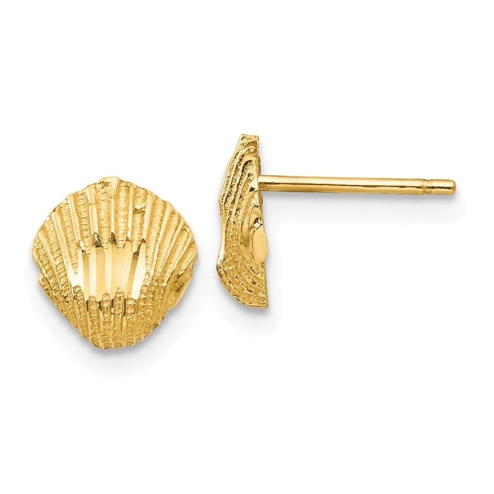14k Multicolored Crystal 8mm Heart Post Earrings in 14k Yellow Gold