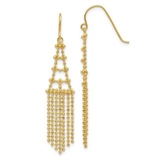 Curata Solid 14K Yellow Gold Bead Chain Chandelier Drop Hook Earrings (9mmx50mm) - Orange
