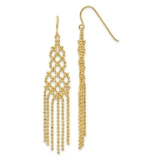 Curata Solid 14K Yellow Gold Bead Chain Chandelier Drop Hook Earrings (11mmx55mm) - Orange