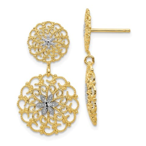Curata Solid 14K Yellow Gold and Rhodium Diamond-Cut Filigree Medallion Drop Post Earrings (14mmx27mm) - Orange