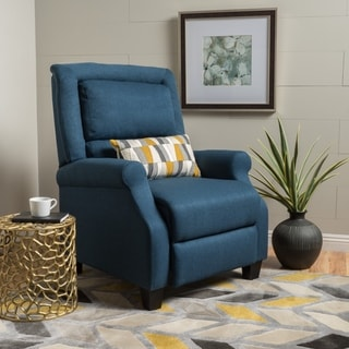 Reddington Blue Fabric Reclining Club Chair by Christopher Knight Home
