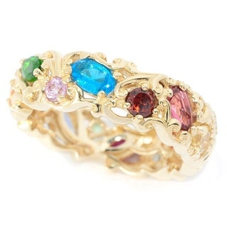 "Michael Valitutti 14K Yellow Gold ""Carnaval"" Multi Gemstone Eternity Band Ring"