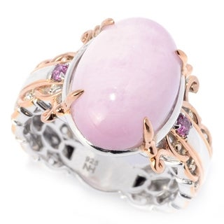 Michael Valitutti Palladium Silver Kunzite Mini Cabochon & Rhodolite Cocktail Ring