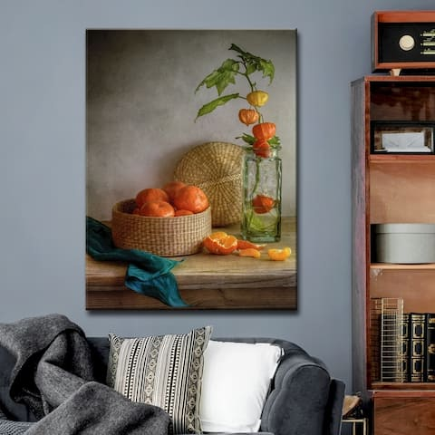 Still Life with Clementines' Kitchen Wrapped Canvas Wall Art