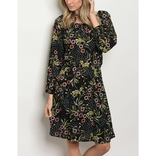 JED Women's Long Sleeve Floral Casual Dress