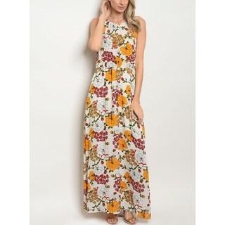 JED Women's Elastic Waist Sleeveless Floral Maxi Dress