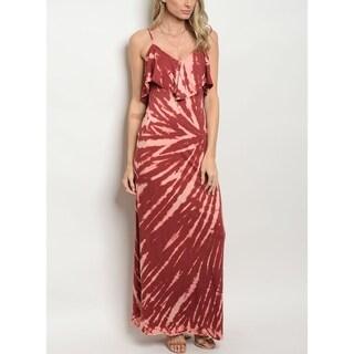 JED Women's Tie Dye Wine Maxi Dress