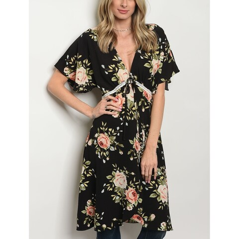 JED Women's Front Tie Short Sleeve Floral Tunic Top