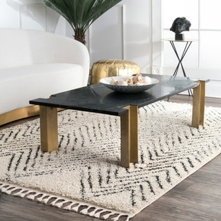 Link to nuLOOM Arrow Aztect Lined Tassel Shag Rug Similar Items in Shag Rugs