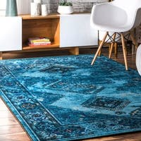 nuLoom Blue Traditional Inspired Overdyed Tribal Diamond Area Rug - 8' x 10'