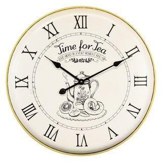 """Yosemite Home Décor """"Time For Tea"""" Wall Clock"""