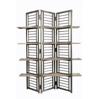 Bashi Collection Folding Floor Screen w/Shelves