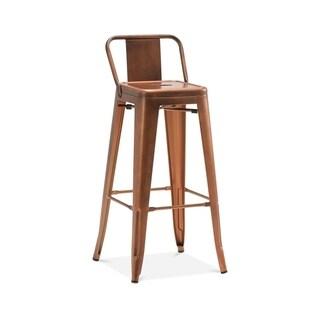 Amalfi Vintage Copper Steel Low Back Barstool 30 Inch (Set of 4) - N/A