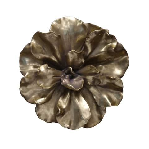 Sagebrook Home 11130-02 Flower Wall Plaque, Gold Polyresin, 10 x 10 x 2.5 Inches