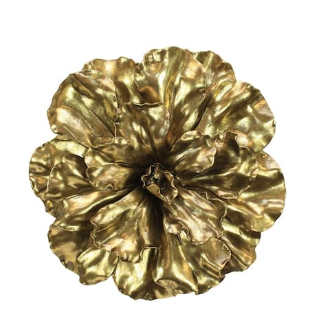 Sagebrook Home 11131-01 Flower Wall Plaque, Gold Polyresin, 20 x 20 x 5.5 Inches