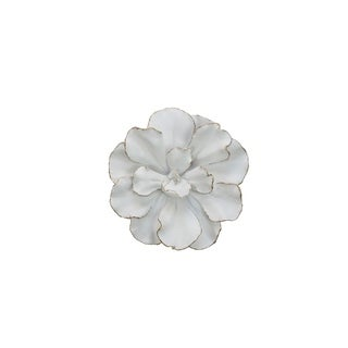 Sagebrook Home 12040-01 Flower Wall Plaque, White/Gold Polyresin, 10 x 10 x 2.5 Inches