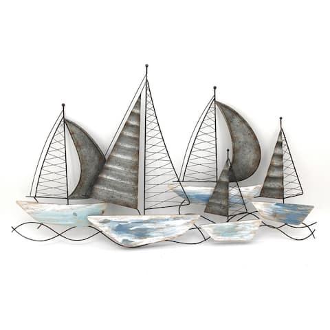 Sagebrook Home 12660-01 Metal Sailboats Wall Decor, Multi, Wb Iron, 39.5 x 1.25 x 23.25 Inches