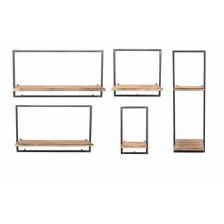 Sagebrook Home 13107-01 S/5 Metal & Wood Wall Shelves, Brown Metal/Wood, 24.75 x 7.75 x 13 Inches