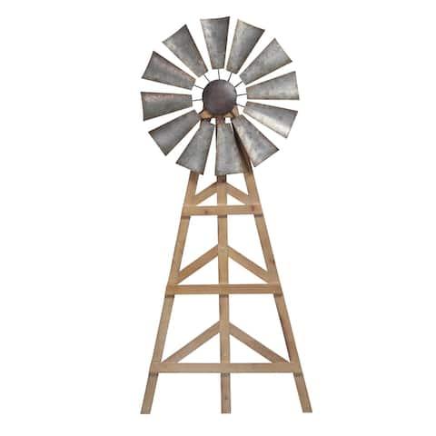 Sagebrook Home 13113-02 Wood Windmill Wall Decor, Brown Wood, 17 x 1.5 x 39.28 Inches