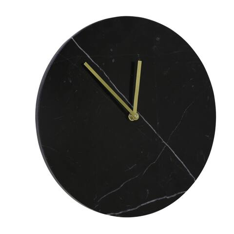 Sagebrook Home 13642-01 Decorative Marble Wall Clock, Black Marble, 12.5 x 12.5 x 2 Inches