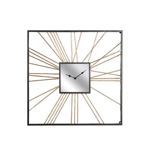 Sagebrook Home 13607 Decorative Metal Wall Clock, Gold, Wb Iron, 24 x 2 x 24 Inches