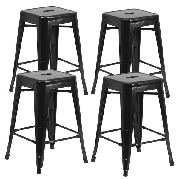 Shop 24 Backless Metal Bar Stool Set Of 4 Free Shipping Today