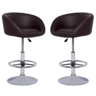 PU Leather Bucket Seat Adjustable Barstool, Chocolate (Set of 2)