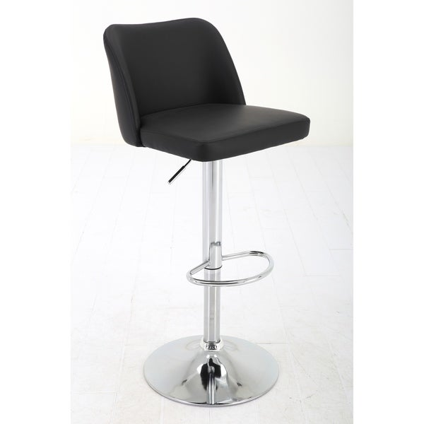 Adjustable Height Faux Leather Pedestal bar stool