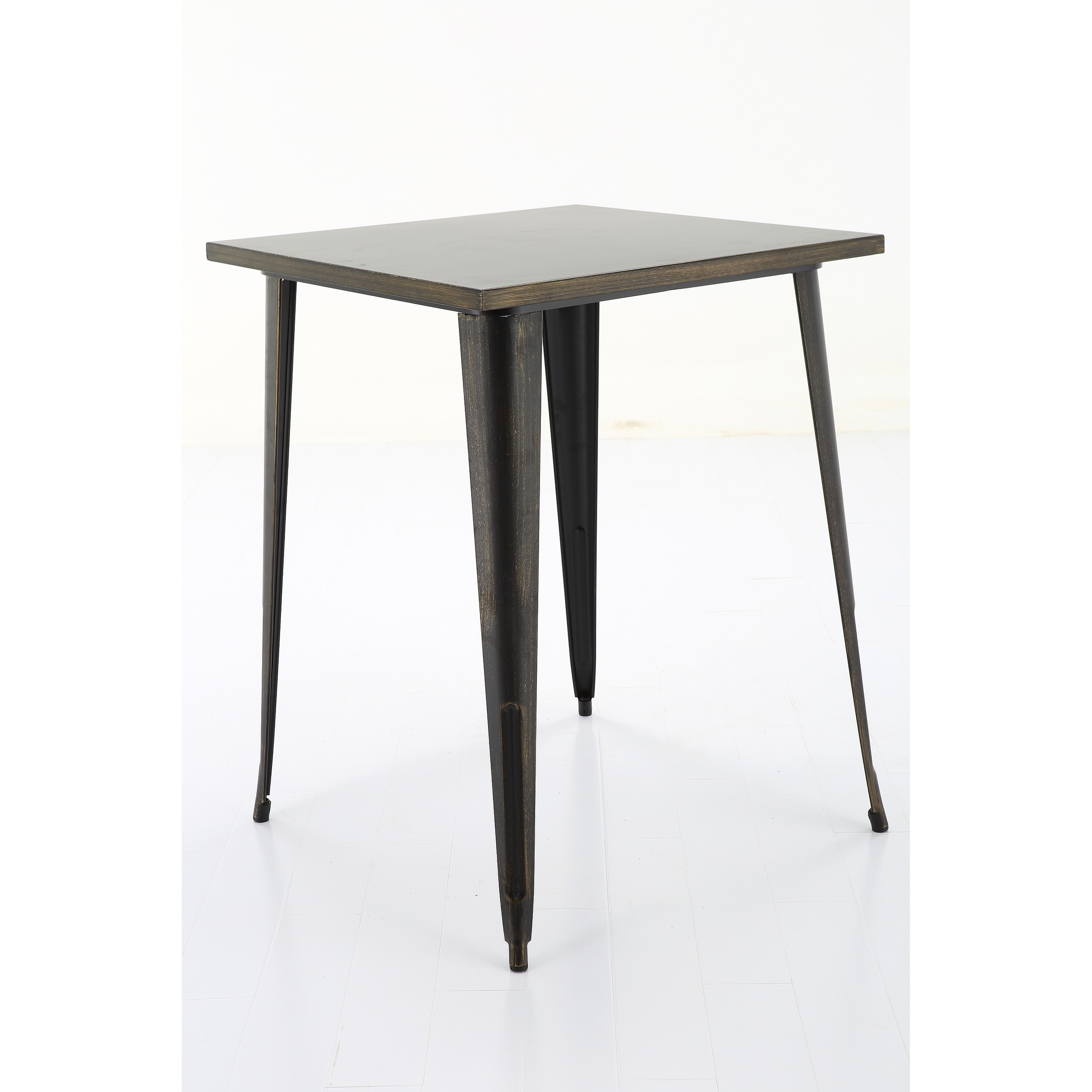 Picture of: Shop 40 Antique Matte Black Gold Square Metal Bar Table Overstock 21348198
