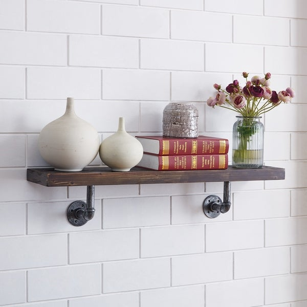 Danya B. 36 X 7 Pipe Industrial Rustic Wall Mount Shelf - Ebony