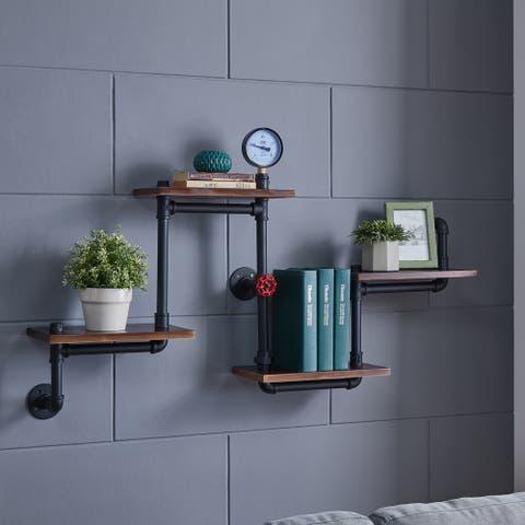 Danya B. 4-Tier Corner or Straight Industrial Rustic Pipe Shelves