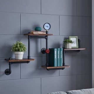 Danya B. 4-Tier Corner Or Straight Industrial Rustic Pipe Shelves