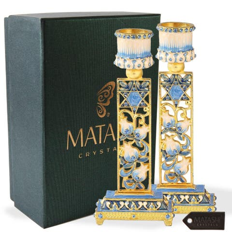 Shabbat Candlestick (2-Piece Set) Hand-Painted, Gold-Plated Pewter choose from 6 styles