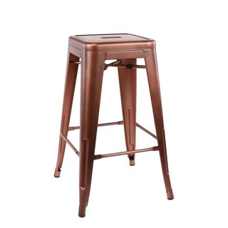 Amalfi Vintage Copper Steel Stackable Counter Stool 26 Inch (Set of 4) - N/A