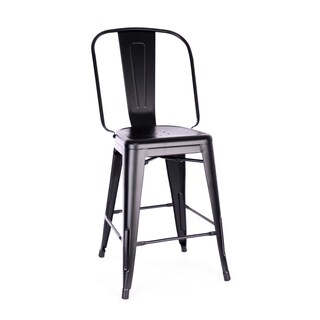 Amalfi Matte Black Steel Counter Chair 24 Inch (Set of 4) - N/A