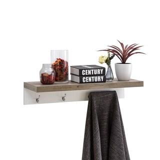Danya B. Wall-Mounted Coat Rack with Shelf - Grey Oak and White