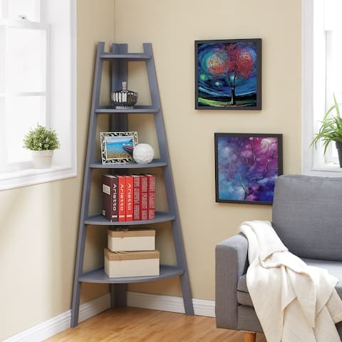 Danya B. Decorative 5-Tier Corner Ladder Display Bookcase - Gray