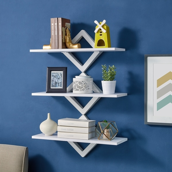 Danya B. Diamonds 3-Level Wall Mount Shelving System-White