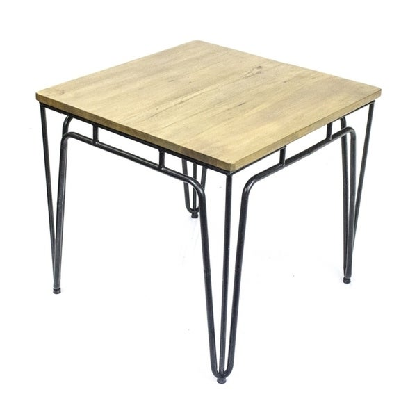 Sagebrook Home 11504 Metal Accent Table W/ Natural Wood Top, Black Metal/Wood, 24.75 x 24.75 x 23.5 Inches