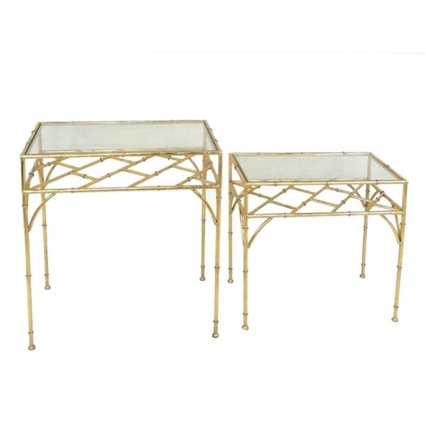 Sagebrook Home 12284-02 Metal & Glass Accent Tables, Gold Metal/Glass, 24 x 14 x 26 Inches (Set of 2)