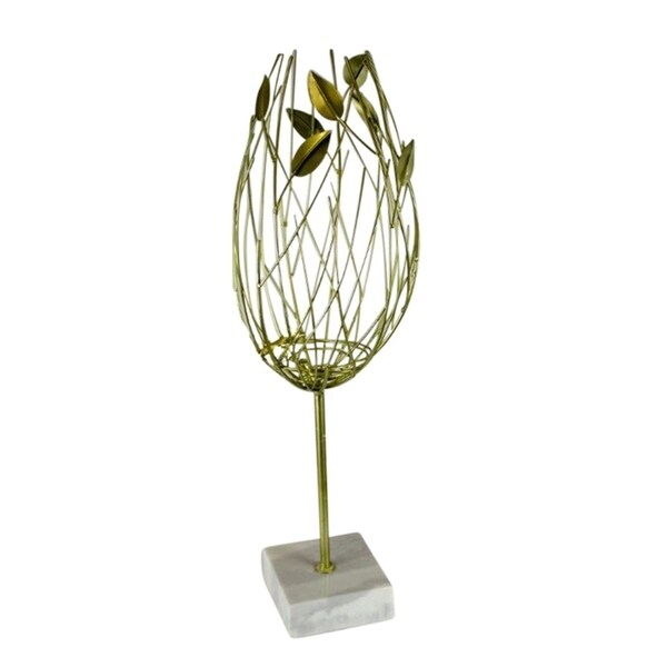 Sagebrook Home 12410-02 Metal Table Top Decor, Gold Metal, 7.75 x 7.75 x 23.5 Inches