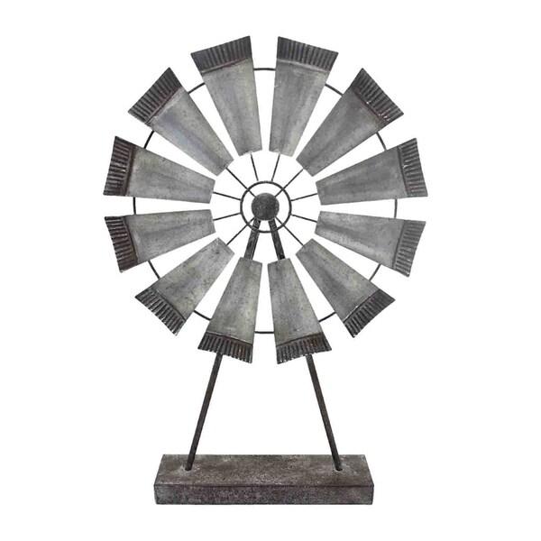 Sagebrook Home 12642-01 Metal Windmill Table Decor, Gray Metal, 13.25 x 3 x 19.5 Inches