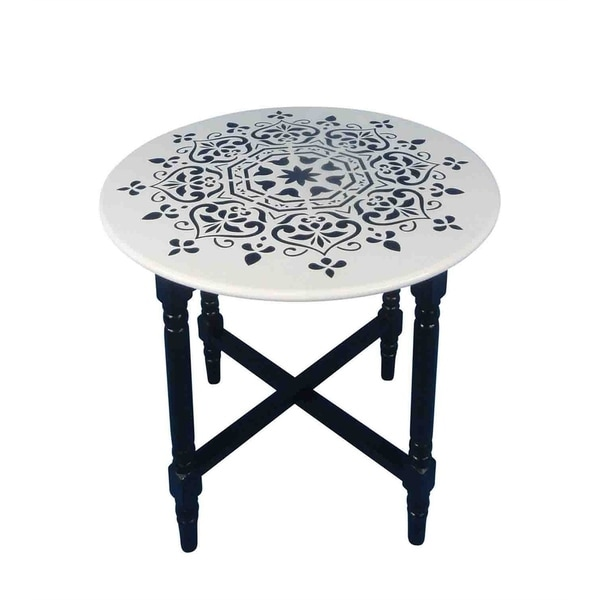 Superior Sagebrook Home 12526 Decorative Cross Base Accent Table, Black/White Wood,  26.5 X