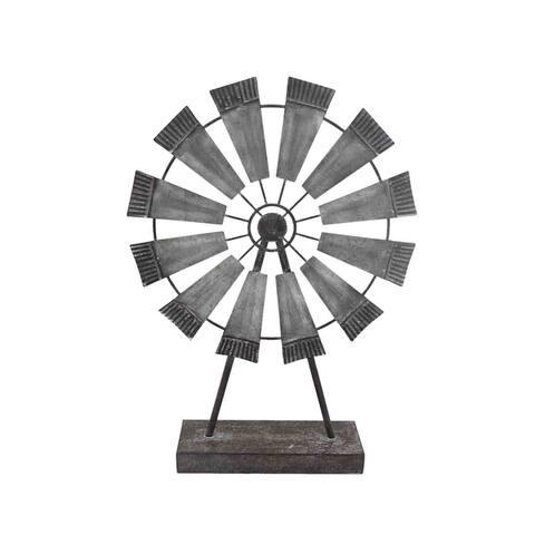 Sagebrook Home 12642-02 Metal Windmill Table Decor, Gray Metal, 11.5 x 3 x 15.75 Inches