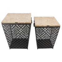 Sagebrook Home 12656 Metal Side Tables W/Storage, Black Metal, 19.75 x 18.5 x 22.5 Inches (Set of 2)