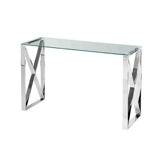 Link to Sagebrook Home 12802-03 Stainless Steel & Glass Console Table, Silver, Kd Metal, 47.25 x 15.75 x 30.75 Inches Similar Items in Living Room Furniture